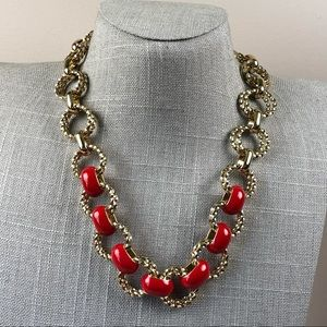 Classic Red enamel Talbots chunky chain necklace